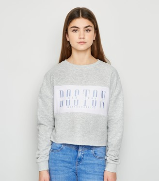 New Look Girls Colour Block Boston Slogan Sweatshirt