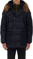 Moncler Men's Fur-Trimmed Quilted Hooded Parka-NAVY