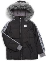 Calvin Klein Jeans Little Boy's Logo Faux Fur-Trim Puffer Jacket