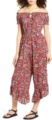 Angie Floral Off the Shoulder Wide Leg Crop Jumpsuit