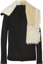 Rick Owens Shearling-Trimmed Suede Jacket