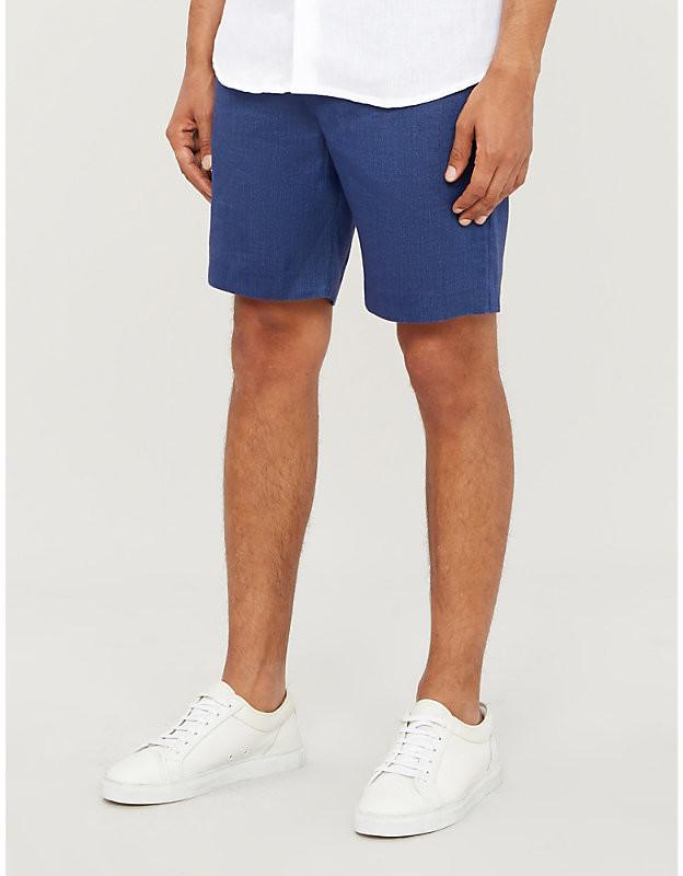 Frescobol Carioca Drawstring-waistband mid-rise cotton and linen-blend shorts