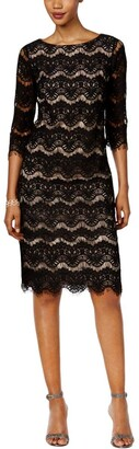 Jessica Howard Women's 3/4 Sleeve Shift Lace Dress