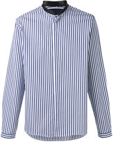 Juun.J neck detail striped shirt - men - Cotton - 44