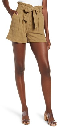 GOOD LUCK GEM Textured High Paperbag Waist Shorts