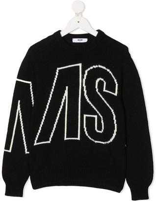 Msgm Kids Logo-Jacquard Sweater