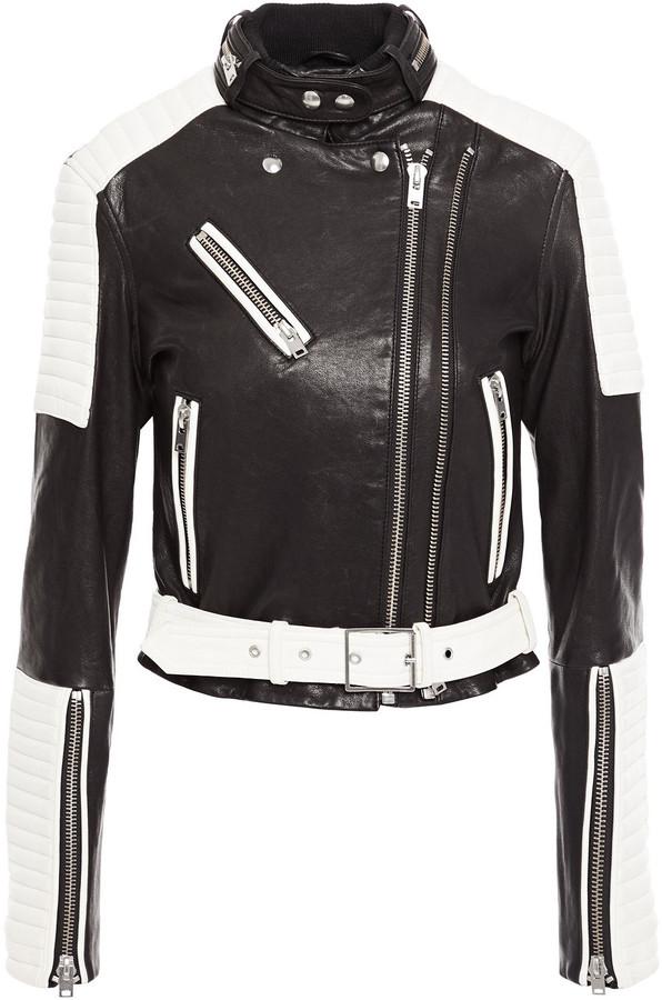 IRO Lukka Two-tone Leather Biker Jacket