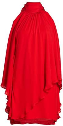 Halston Layered Flounce Halter Dress