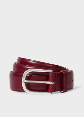 Men's Burgundy Leather Belt With Silver Buckle