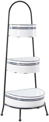 Willow Row Navy Stripe Country Cottage Distressed White Metal Rack