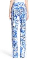 Versace Women's Leaf Print Stretch Cady Pants