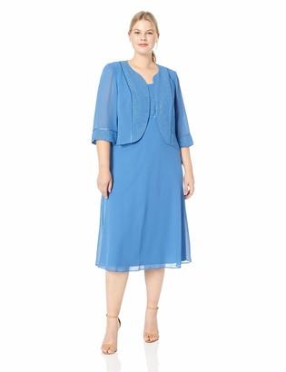 Le Bos Women's Plus Size Sequin Trim Jacket Dress