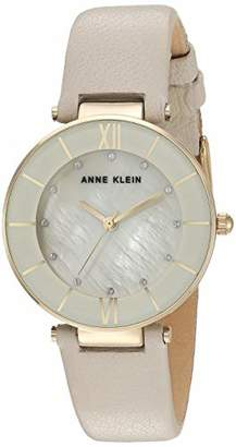 Anne Klein Women's Swarovski Crystal Accented Gold-Tone and Cream Colored Leather Strap Watch