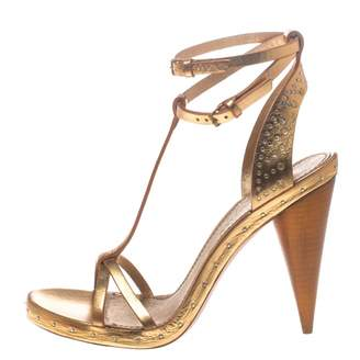 Burberry Gold Leather Sandals