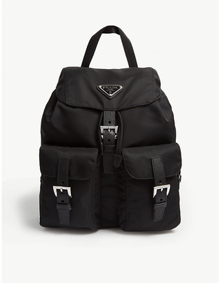 Prada Ladies Black Logo Nylon Backpack, Size: Small