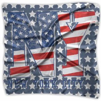 Not Applicable Comfortable Soft Women Lady Girl USA Patriotic American Flag New York Stars Stripes Square Kerchief Scarf Head Wrap Bandanas Headband Neck Satin Shawl