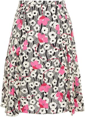 Valentino Pleated Printed Silk Crepe De Chine Skirt