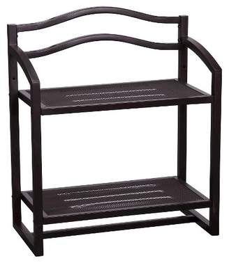 Household Essentials 2-Tier Decorative Shelving Unit - Brown