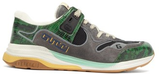 Gucci Ultrapace Croc-effect Leather And Suede Trainers - Mens - Green