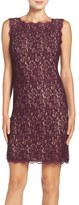 Adrianna Papell Petite Women's Boatneck Lace Sheath Dress