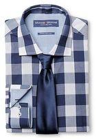 Graham & Graham Men's Buffalo Check Dress Shirt & Tie Set Navy - Graham & Graham