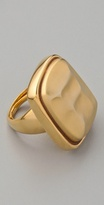 Gold Hammered Stone Ring