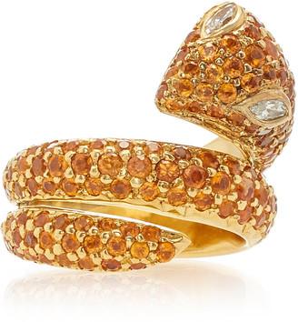 Gioia Bini Snake 18K Gold And Garnet Ring