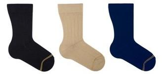 Gold Toe Boys Socks, 3 Pack Crew Wide Rib Dress Formal, Sizes S-L