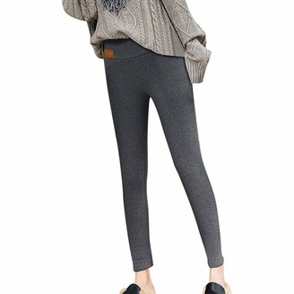 Sadwf Women Warm Thick Cashmere Velvet Fleece Lined High Waisted Thermal Leggings Wool Soft Thick Tights Jogging Pants (Color : Gray -A Size : 4XL)
