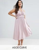 Asos WEDDING V Front Ruched Midi Dress