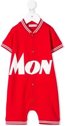 Moncler Enfant Logo Print Stripe Detail Babygrow