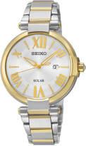 Seiko Women's Solar Two-Tone Stainless Steel Bracelet Watch 33mm SUT174