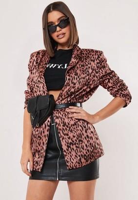 Missguided Pink Leopard Print Blazer
