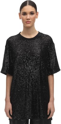 In The Mood For Love OVER SEQUINS ROUND NECK T-SHIRT