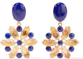 Bounkit Gold-Tone Lapis And Quartz Earrings
