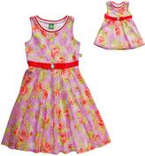 Dollie & Me Pink Floral Sleeveless Dress & Doll Dress - Girls