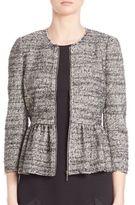 Rebecca Taylor Striped Tweed Peplum Jacket