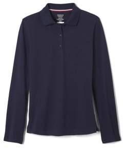 French Toast Girls Plus School Uniform Long Sleeve Stretch Pique Polo Shirt (Plus)