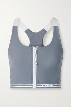 Adam Selman Core Striped Stretch Sports Bra - Light blue