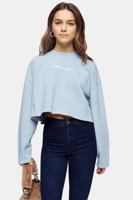 Topshop Womens Petite Blue Copenhagen Sweatshirt - Pale Blue