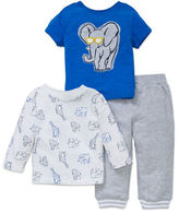 Little Me Baby Boys Three-Piece Elephant Tee and Pants Set