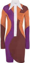 Givenchy Color-block Crepe Mini Dress - Orange