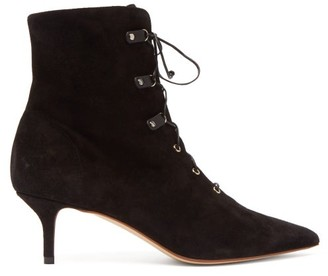 Francesco Russo Lace-up Suede Ankle Boots - Womens - Black