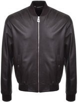 Versace Leather Bomber Jacket Brown