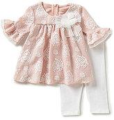 Bonnie Jean Bonnie Baby Baby Girls Newborn-24 Months Textured Jacquard Dress and Solid Leggings Set