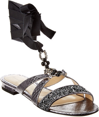 Monique Lhuillier Genna Leather Sandal