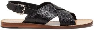 Dolce & Gabbana Crocodile Leather Crossover Strap Sandals