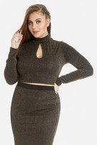 Fashion to Figure Zora Metallic Ribbed Crop Top