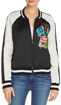 True Religion Embroidered Satin Bomber Jacket