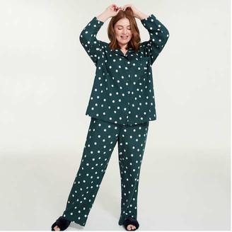 Joe Fresh Women+ 2 Piece Print Flannel Sleep Set, Dark Blue (Size 1X)